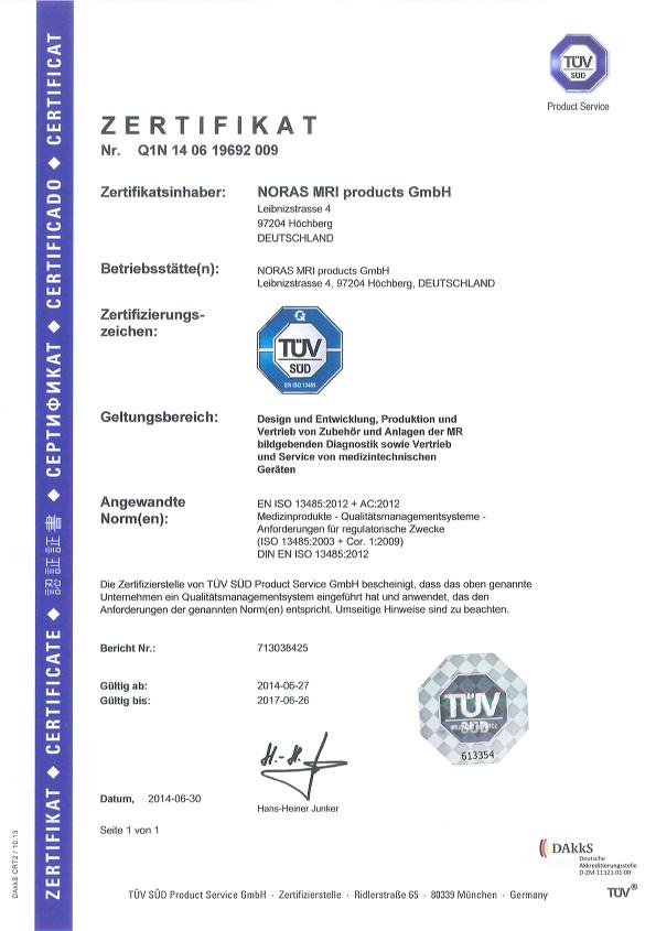 Zertifikate - Noras MRI products